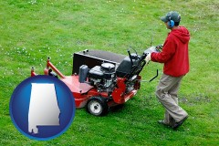 alabama map icon and a lawn mowing service