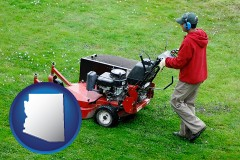 arizona map icon and a lawn mowing service