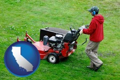 california map icon and a lawn mowing service