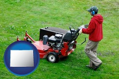 colorado map icon and a lawn mowing service