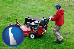 delaware map icon and a lawn mowing service