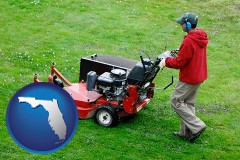 florida map icon and a lawn mowing service