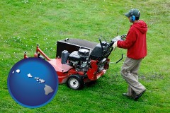 hawaii map icon and a lawn mowing service
