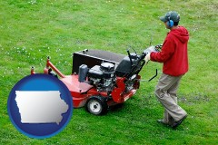iowa map icon and a lawn mowing service