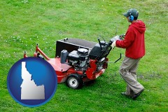 idaho map icon and a lawn mowing service