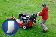 indiana map icon and a lawn mowing service