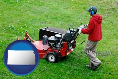 kansas map icon and a lawn mowing service