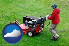 kentucky map icon and a lawn mowing service