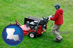 louisiana map icon and a lawn mowing service