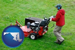 maryland map icon and a lawn mowing service