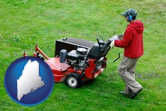 maine map icon and a lawn mowing service