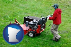 minnesota map icon and a lawn mowing service