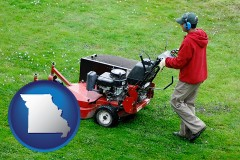 missouri map icon and a lawn mowing service