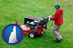 new-hampshire map icon and a lawn mowing service