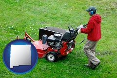 new-mexico map icon and a lawn mowing service