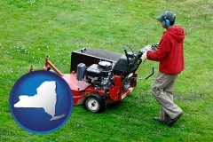new-york map icon and a lawn mowing service