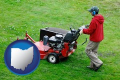 ohio map icon and a lawn mowing service