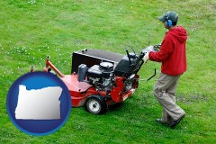oregon map icon and a lawn mowing service