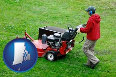 rhode-island map icon and a lawn mowing service