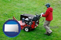 south-dakota map icon and a lawn mowing service