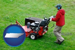 tennessee map icon and a lawn mowing service