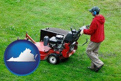 virginia map icon and a lawn mowing service