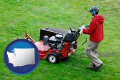 washington map icon and a lawn mowing service