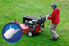 west-virginia map icon and a lawn mowing service
